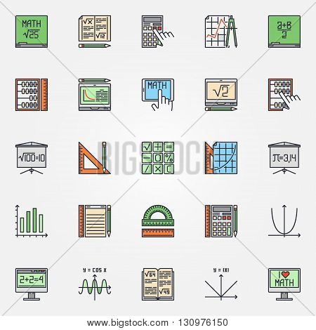 Mathematics icons set - vector colorful math symbols or algebra signs