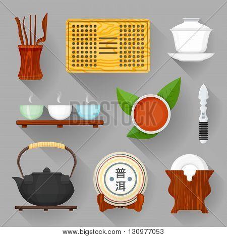Tea Ceremony Equipment Illustration Set.