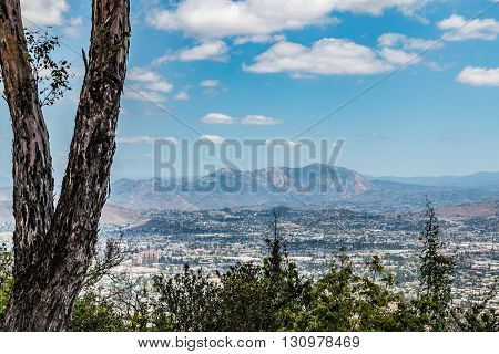 Cuyamaca Peak and the city of El Cajon, as seen from Mt. Helix Park in La Mesa, located in San Diego, California.