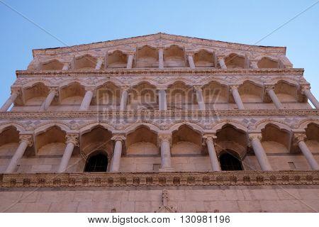 PISA, ITALY - JUNE 06, 2015: Portal of Saint Michele in Borgo church in Pisa, Italy, on June 06, 2015