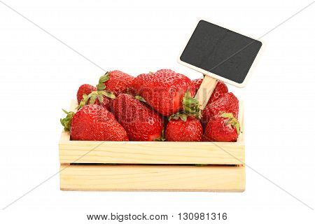 Strawberry In Wooden Box With Price Sign