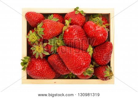Strawberry In Wooden Box Isolated On White