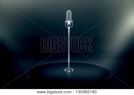 Silver microphone stand on dark stage with limelight. 3D Rendering