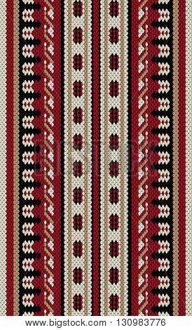Crimson Red And Beige Arabian Sadu Rug Pattern