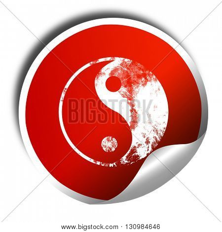 Ying yang symbol, 3D rendering, red sticker with white text