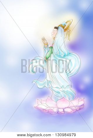 Watercolor illustration of Guanyin, an east asian spiritual figure of mercy
