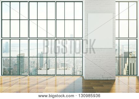 Empty interior design with framed windows wooden floor and blank poster on brick wall. Mock up 3D Rendering