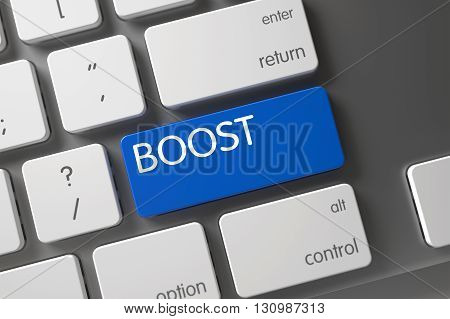 Metallic Keyboard Button Labeled Boost. Boost Concept: Modern Laptop Keyboard with Boost, Selected Focus on Blue Enter Button. Boost Keypad. 3D Illustration.