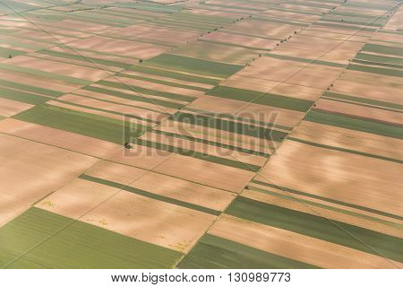 Aerial view of a green rural area in Vojvodina