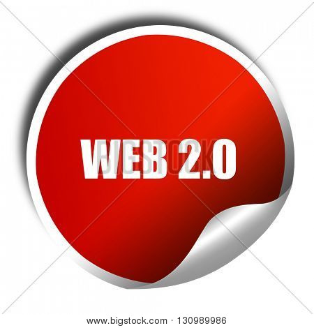 web 2.0, 3D rendering, red sticker with white text
