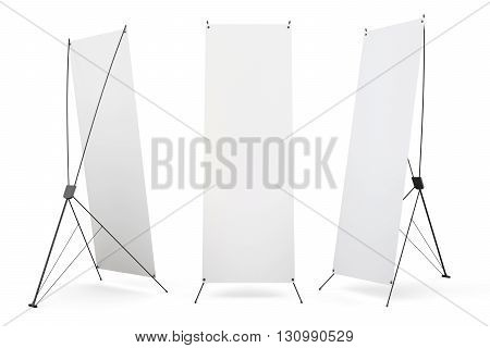 Set of blank banner x-stands display isolated on white background. 3d render image.