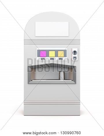 White vending machine for beverages isolated on white background. Machine for sale soda. Front view. 3d rendering