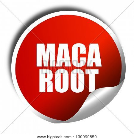 maca root, 3D rendering, red sticker with white text
