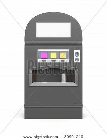 Vending machine for beverages isolated on white background. Machine for sale soda. Front view. 3d rendering