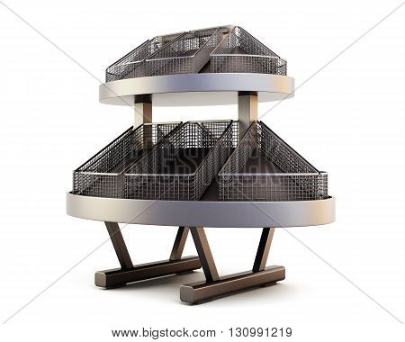 Row of supermarket shelves for bread isolated on white background. 3d rendering.