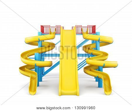 Plastic slides for water park on a white background. Front view. 3d rendering.