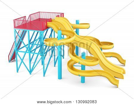 Water slides on a white background. Side view. 3d render image.