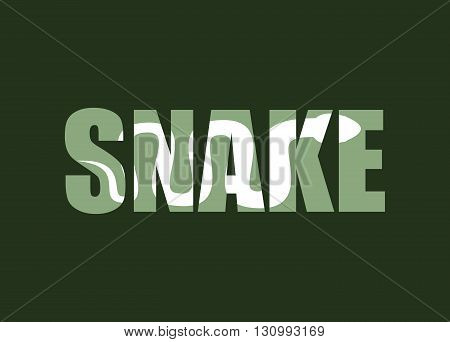 Snake. Silhouette Of Reptiles In Text. Long Poisonous Reptile And Typography. Palet And Animal Chara