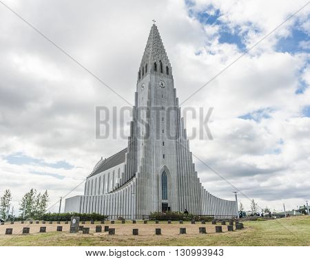 Hallgrimskirkja lutheran cathedral in Reykjavik is the largest church on Iceland
