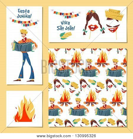 Set of 4 greeting card. Brazilian holiday Festa Junina (the June party).Template. Vector illustration