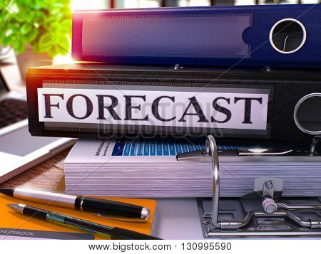 Black Ring Binder with Inscription Forecast on Background of Working Table with Office Supplies and Laptop. Forecast - Toned Illustration. Forecast Business Concept on Blurred Background. 3D Render.