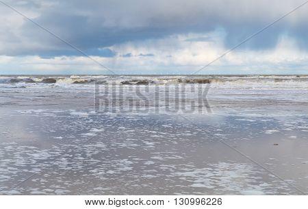 North sea coast during rainy day Zandvoort Netherlands