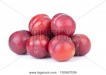 plums fruit, red plums isolated on white background.