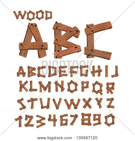 Wood Font. Old Boards Alphabet. Wooden Planks With Nails Alphabet. Letter Tree Strip