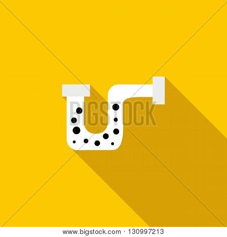 Clog in the pipe icon in flat style on a yellow background