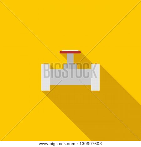 Pipe with a red valve icon in flat style on a yellow background