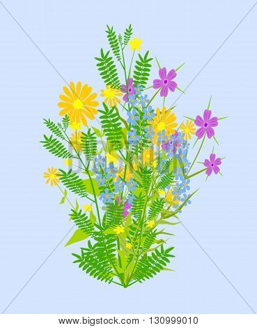Beatiful bunch of flowers - vector illustration.