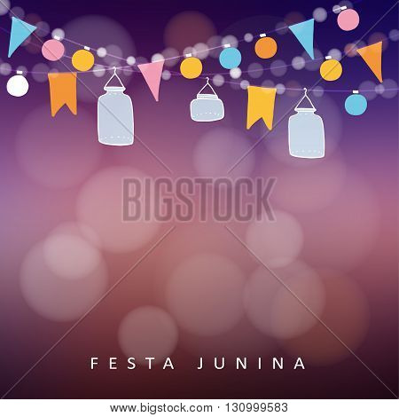 Brazilian june party festa junina. String of lights jar lanterns. Party decoration. Birthday garden party. Sunset blurred vector background banner.