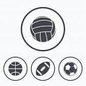 Sport balls icons. Volleyball, Basketball, Soccer and American football signs. Team sport games. Icons in circles. poster
