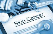 Skin Cancer, Medical Concept with Selective Focus. Skin Cancer Diagnosis, Medical Concept. Composition of Medicaments. 3D Render. poster