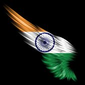 The Abstract wing with India flag on black background poster