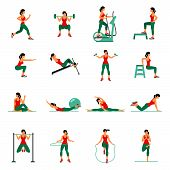 Fitness Aerobic and workout exercise in gym. Vector set of gym icons in flat style isolated on white background. People in gym. Gym equipment dumbbell weights treadmill ball. poster