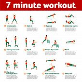 7 minute workout. Fitness Aerobic and workout exercise in gym. Vector set of gym icons in flat style isolated on white background. People in gym. Gym equipment dumbbell weights treadmill ball. poster