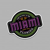 miami, florida  linear emblem design for t shirts and stickers poster