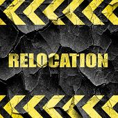 relocation, black and yellow rough hazard stripes poster