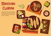 Mexican barbecue dishes for outdoor dinner icon with grilled corn on the cob,  beef steak carne asada and vegetarian tacos with sour cream sauce, chicken enchiladas and chilli bean stuffed peppers, guacamole with nachos and refreshing drinks. Flat style poster