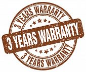 3 years warranty brown grunge round vintage rubber stamp poster