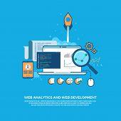 Web analytics information and website development flat concept background.  Analytics internet technology, development optimization, information analytics data, seo analytics. Vector illustration poster