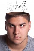 A young man looking up toward his opened head with arrows pointing in towards his brain. poster