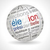 French presidential election theme sphere with keywords full vector poster