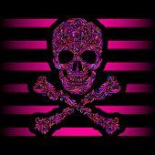 Floral pattern of form color skull and crossbones. Pink stripes. Emo poster