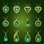 Set of realistic green jewels. Colorful green gemstones. Green emerald pendants isolated on green background. Princess cut jewel. Round cut jewel. Emerald jewel. Oval jewel. Pear jewel . Heart jewel. poster