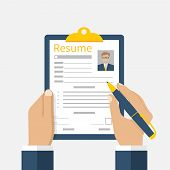 Resume form in the hands. Clipboard in hand with leaf resume. Man fills in questionnaire resume. Writing business resume. Concept of employment. Vector flat design. CV application. Resume job. poster