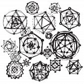 Sacred geometry symbols and elements background. Cosmic universe big bang alchemy religion philosophy astrology science physics chemistry and spirituality themes poster