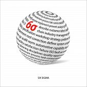 Six sigma word ball. White ball with main title 6σ and filled by other words related with 6σ method. Vector illustration poster