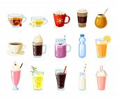 Set of cartoon food: non-alcoholic beverages - tea, herbal tea, hot chocolate, latte, mate, coffee, root beer, smoothie, juice, milk shake, lemonade and so. Vector illustration, isolated on white. poster
